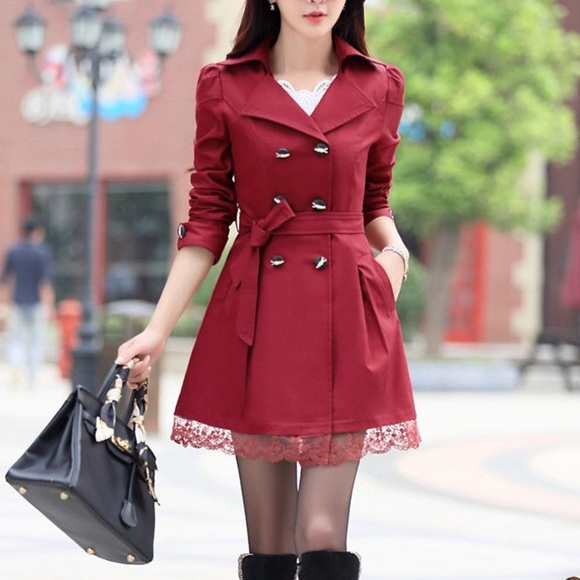 97541fca3dd Jackets   Blazers - Red Trench Coat with Lace Trim